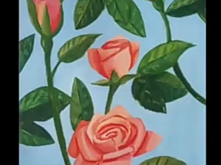 Step-by-step painting of a Rose using Acrylic Paints
