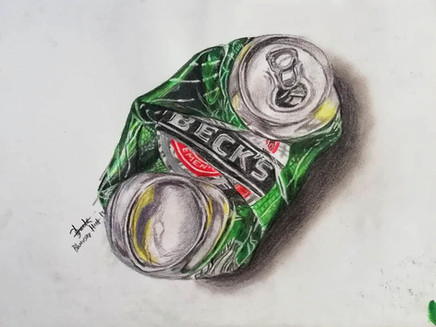 Guide to sketching a cold drink can using colour pencil