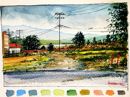 Step-by-step painting of a Watercolour Landscape