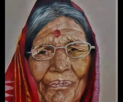 How to paint realistic old women portrait in oil colour on canvas