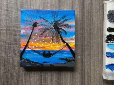 Step-by-step Seascape Acrylic Painting on Mini Canvas