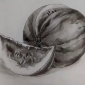 Drawing Watermelon Using Charcoal