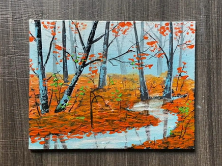 Step-by-step Autumn Landscape Painting using Acrylic Colours