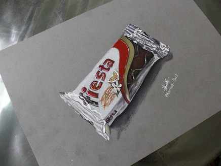 How to draw a realistic chocolate bar using pencil colours ?