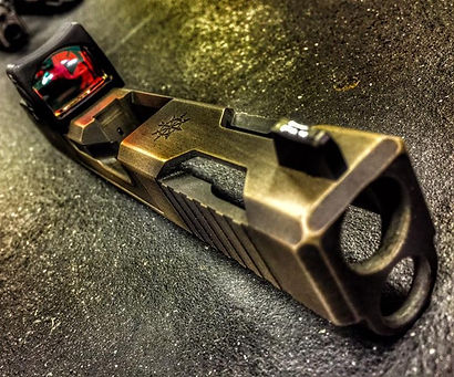 PRECISION TACTICAL DAUNTLESS SLIDE CUT WITH RMR CUT AND DISTRESSED BRONZE CERAKOTE