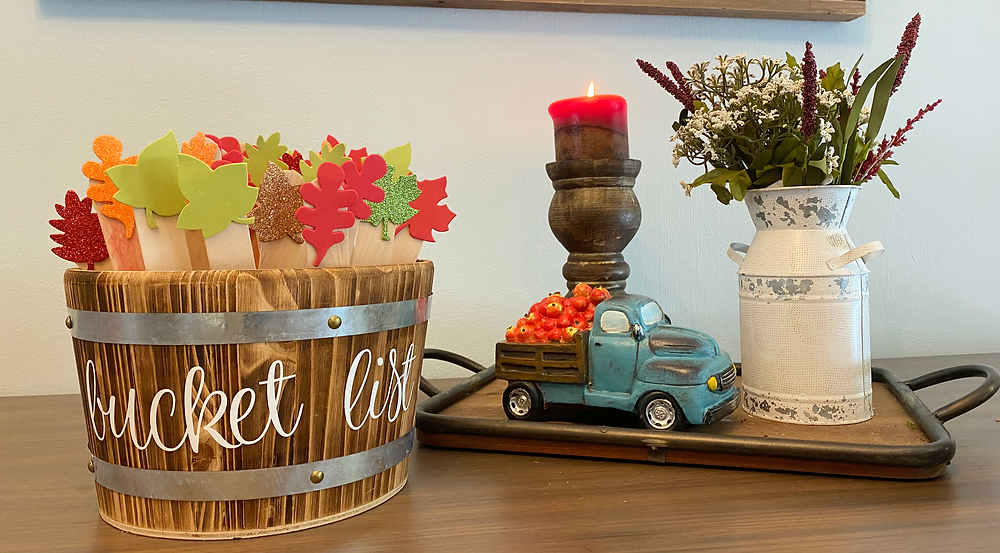 Bucket of Bucket List Items for Fall. Truck apples, Fall Candles, Fall Decor