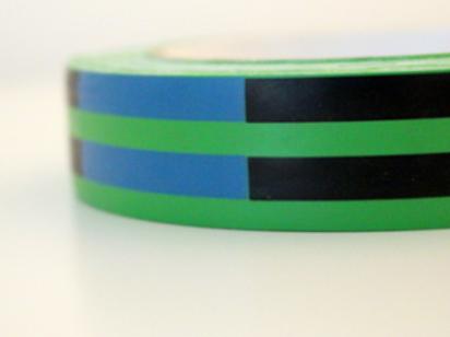 Green tape - black & blue stripes
