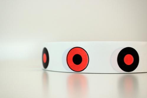White tape - black & orange targets