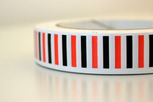 White tape - black & orange vertical stripes