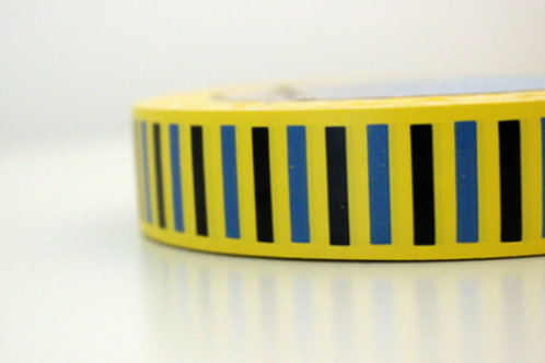 Yellow tape - black & blue vertical stripes