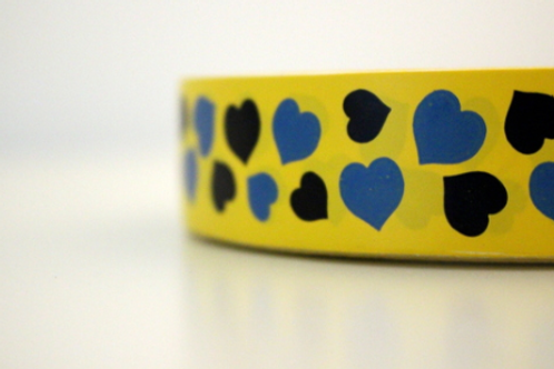 Yellow tape - black & blue mini hearts