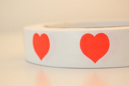 White tape - orange hearts