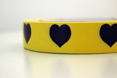 Yellow tape - dark purple hearts