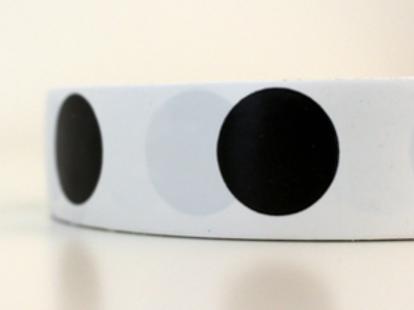 White tape - black circles