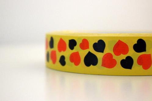 Yellow tape - black & orange mini hearts