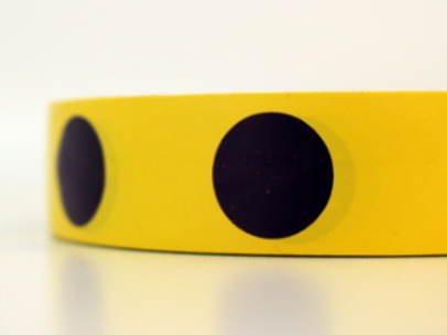 Yellow tape - dark purple circles