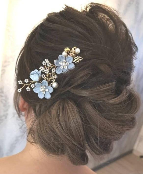Braut Haarschmuck in blau