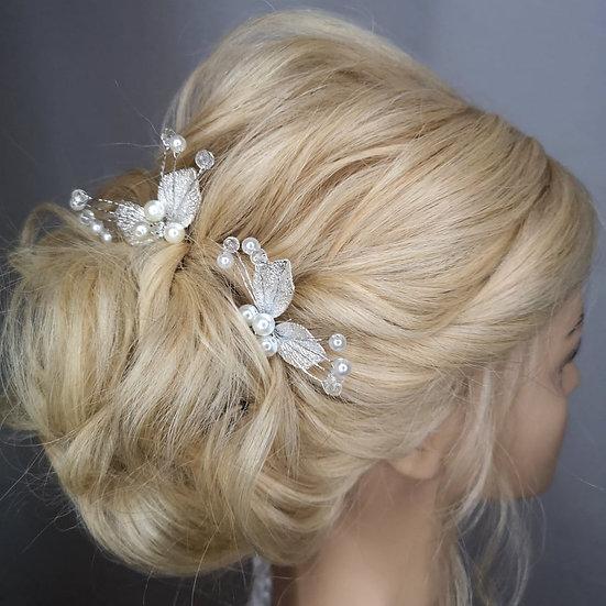 Braut Haarschmuck Doris in silber und gold