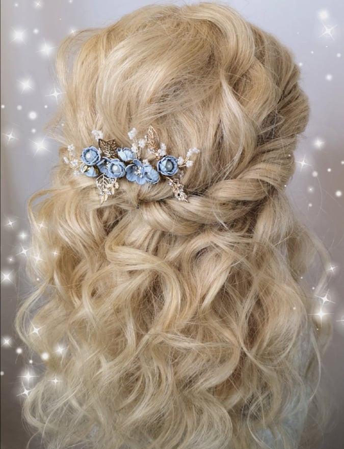 blauer Braut Haarschmuck