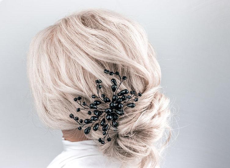 schwarzer Brauthaarschmuck