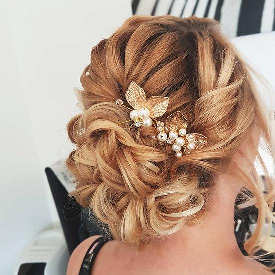Braut Haarschmuck Haarnadel gold