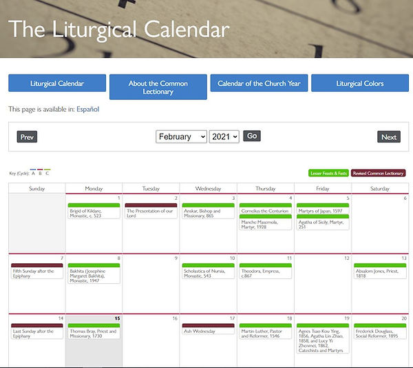 Episcopal Liturgical Calendar February.J