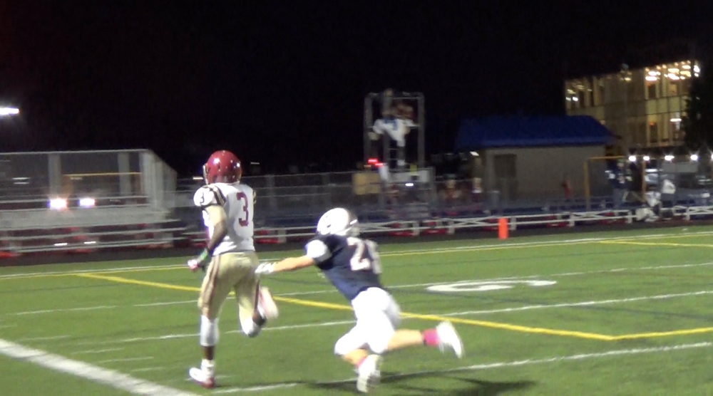 Hezekiah Trotter scores on an 89-yard TD reception against Conant Friday night.