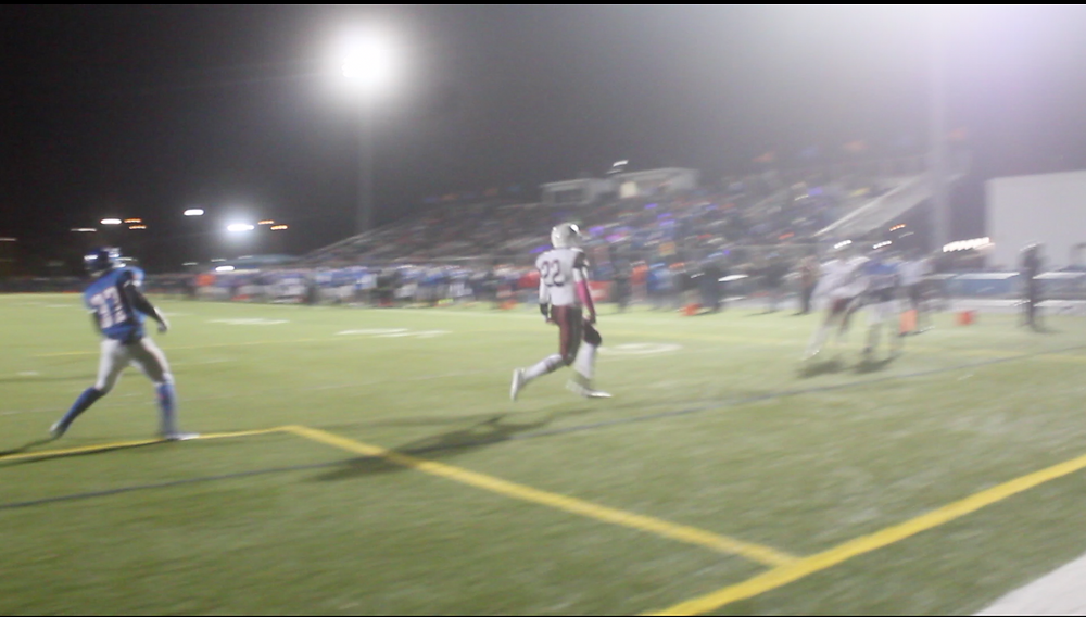 Samson Evans celebrates one of his 4 rushing touchdowns against the Hawks in the semifinals