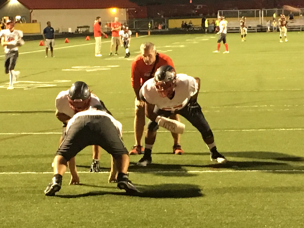 The Pirates offensive line opened some gaping holes for its backs on Friday night in Schaumburg, helping the team to a 28-21 road victory.