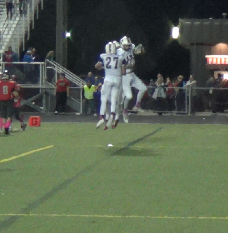 Cole Aldrich and Anthony Pachal celebrate the cougars go-ahead score in the third quarter Friday night at Palatine