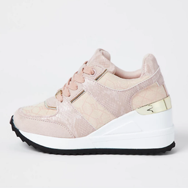 River Island Pink Wedge Trainer