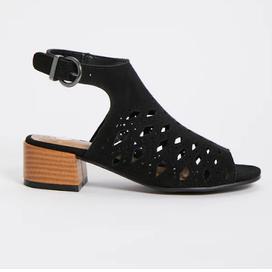 TU Sainsburys Black Laser Cut Heeled Shoes