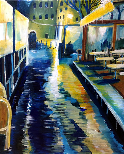 Cafe At Night in the Rain