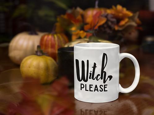 Witch, Please Halloween White glossy mug