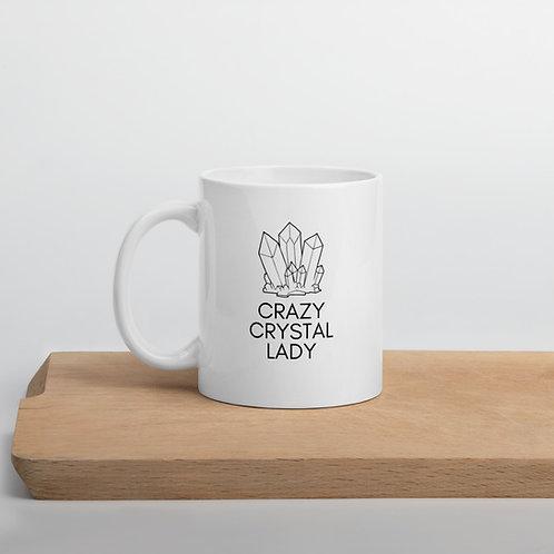 Crazy Crystal Lady White glossy mug