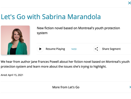 CBC Montreal interview with Sabrina Marandola: on Butterflies in the System