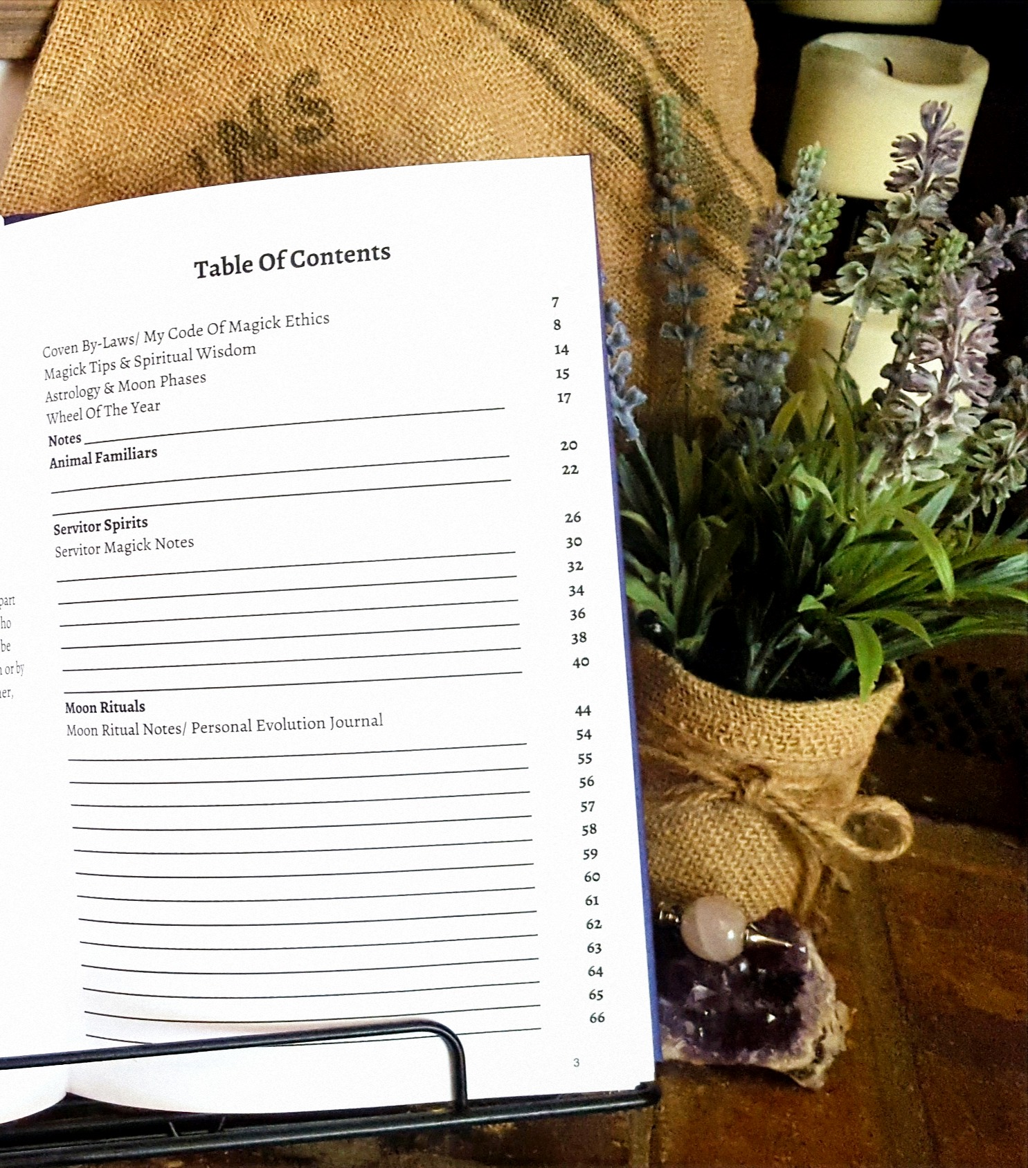Fill in the table of contents with your own spells and rituals