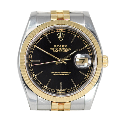 Rolex Datejust Two Tone Black Dial Box