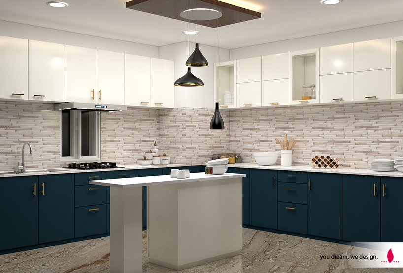 Kitchen with a Centre Dine-in