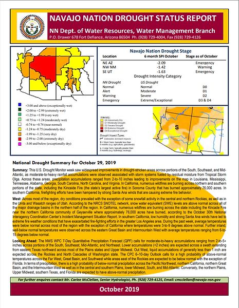 NNDWRM October 2020 Drought report Cover