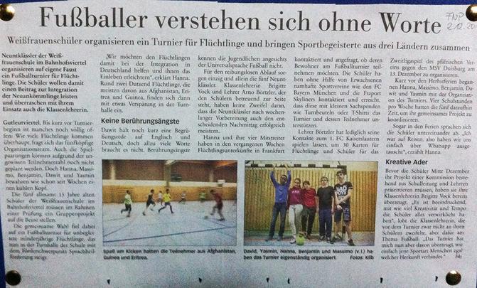 Turnier mit Flüchtlingen in der Weißfrauenschule