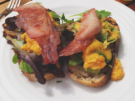 My first recipe! Scrambled Eggs with smashed avocado and lime on Sourdough Toast with Bacon and roas