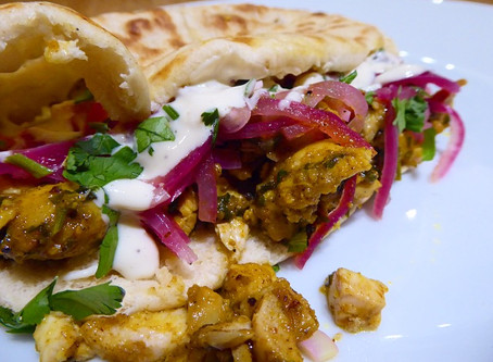 Chicken Shawarma with tahini sauce and pickled red onions #7recipes7days