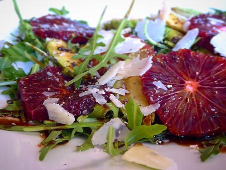 Blood orange, avocado and rocket salad