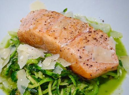 Pesto 'courgetti' with salmon