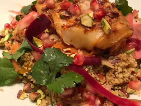 Harissa cod with middle eastern cous-cous