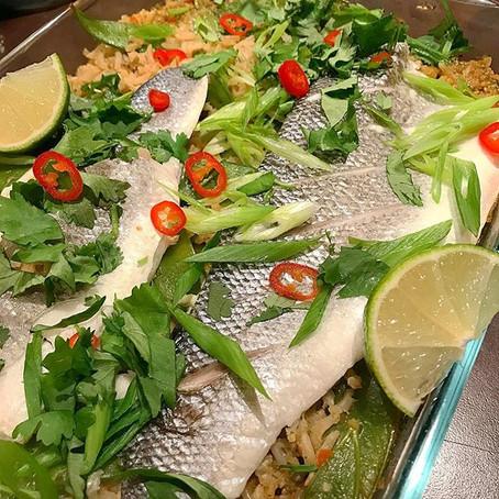 Steamed Thai seabass