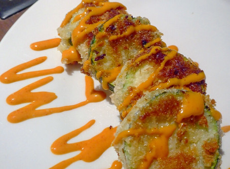 Courgette fritters with sriracha mayo