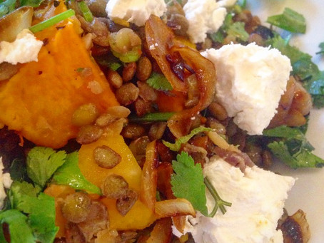 Butternut squash, lentil and goats cheese salad