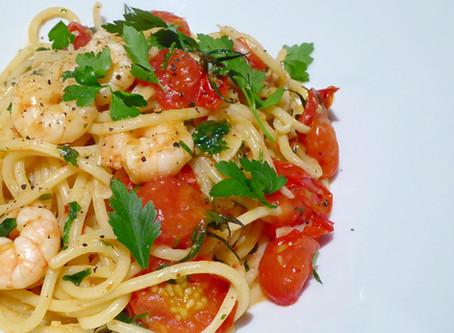 Prawn and white wine spaghetti